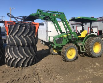 the tire grabber on a tractor